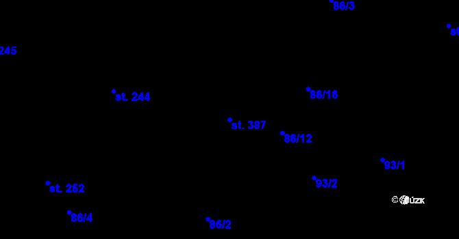 Parcela st. 387 v k.ú. Trnová, Katastrální mapa