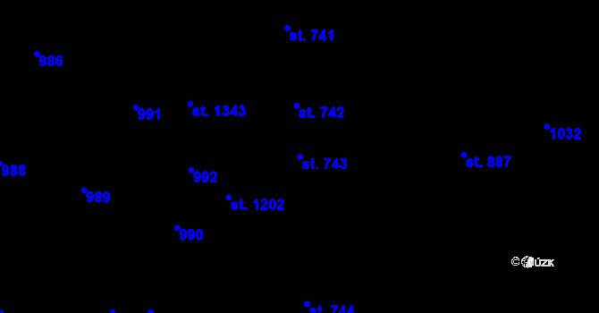 Parcela st. 743 v k.ú. Svítkov, Katastrální mapa