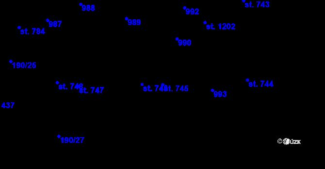 Parcela st. 745 v k.ú. Svítkov, Katastrální mapa