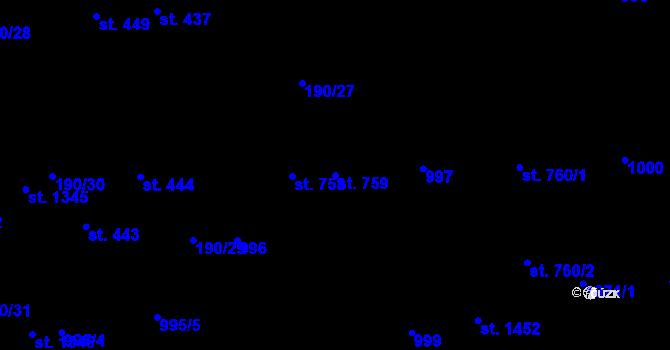 Parcela st. 759 v k.ú. Svítkov, Katastrální mapa