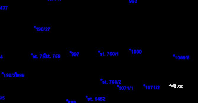 Parcela st. 760/1 v k.ú. Svítkov, Katastrální mapa