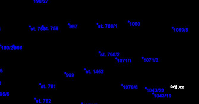 Parcela st. 760/2 v k.ú. Svítkov, Katastrální mapa