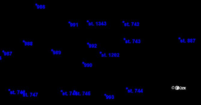 Parcela st. 1202 v k.ú. Svítkov, Katastrální mapa
