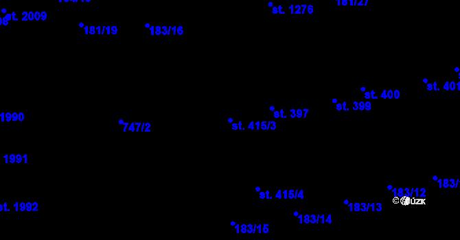 Parcela st. 415/3 v k.ú. Svítkov, Katastrální mapa