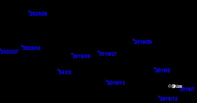 Parcela st. 2019/27 v k.ú. Paskov, Katastrální mapa