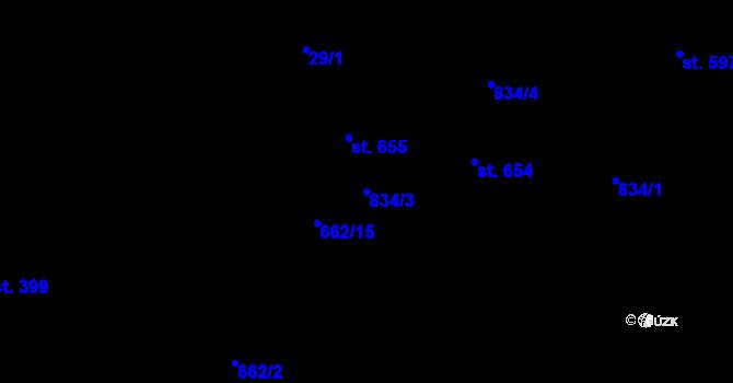 Parcela st. 834/3 v k.ú. Pec pod Sněžkou, Katastrální mapa