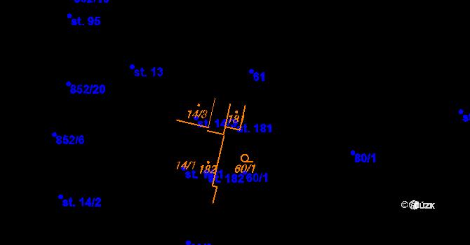 Parcela st. 181 v k.ú. Petrovice I, Katastrální mapa