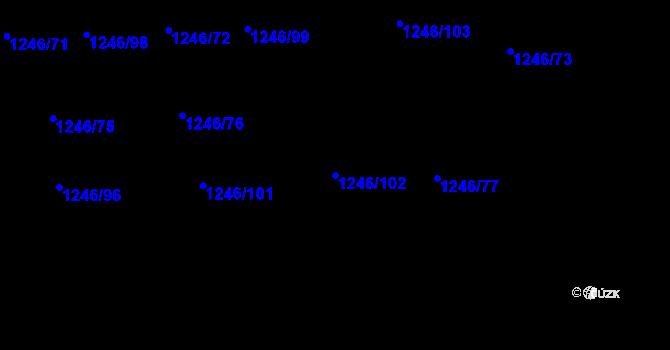 Parcela st. 1246/102 v k.ú. Petřkovice u Ostravy, Katastrální mapa