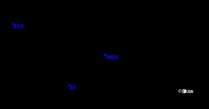Parcela st. 760/1 v k.ú. Pchery, Katastrální mapa