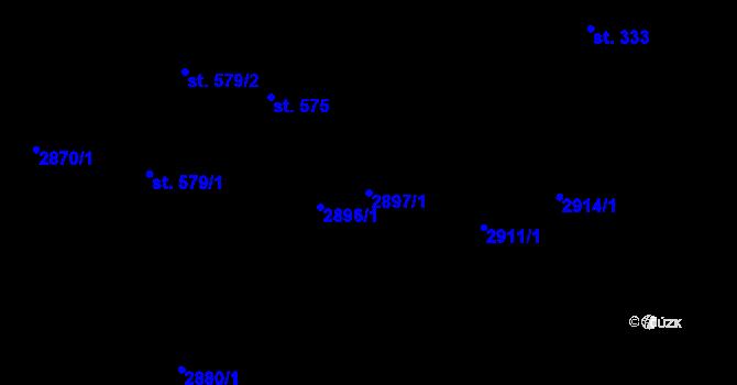 Parcela st. 2897/1 v k.ú. Pitín, Katastrální mapa