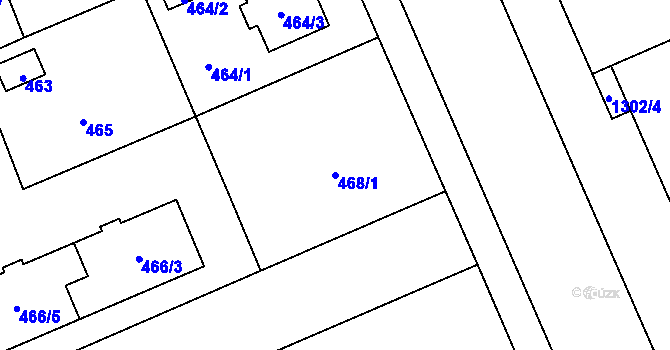 Parcela st. 468/1 v k.ú. Hradiště u Plzně, Katastrální mapa