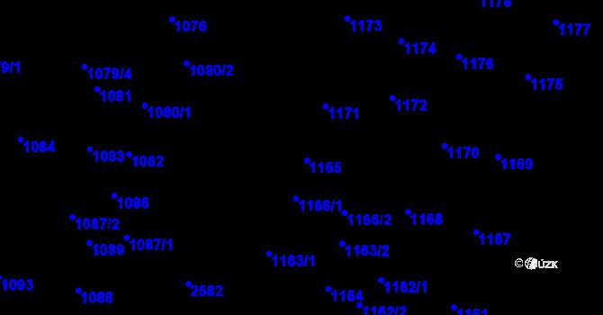 Parcela st. 1165 v k.ú. Skvrňany, Katastrální mapa