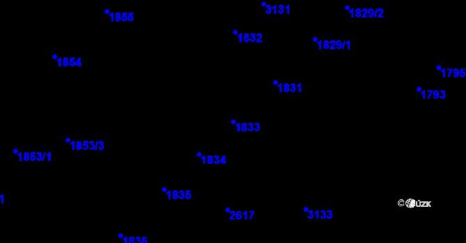 Parcela st. 1833 v k.ú. Doubravka, Katastrální mapa