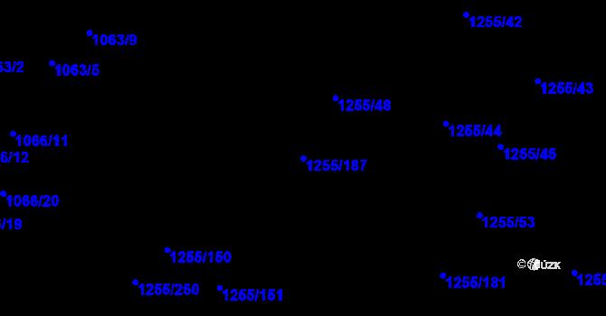 Parcela st. 1255/187 v k.ú. Újezd, Katastrální mapa