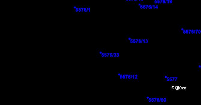 Parcela st. 5576/23 v k.ú. Plzeň 4, Katastrální mapa