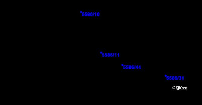 Parcela st. 5586/11 v k.ú. Plzeň 4, Katastrální mapa