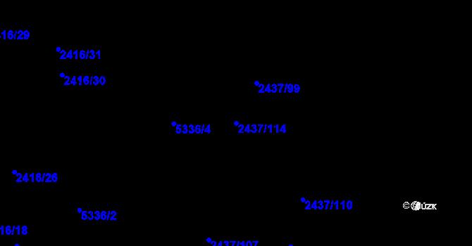 Parcela st. 2437/114 v k.ú. Plzeň 4, Katastrální mapa