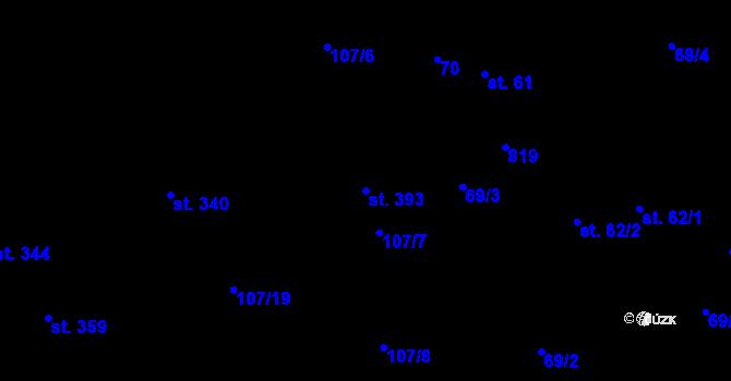 Parcela st. 393 v k.ú. Pohled, Katastrální mapa