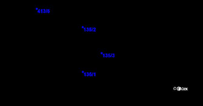 Parcela st. 135/3 v k.ú. Simtany, Katastrální mapa