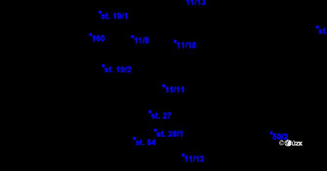 Parcela st. 11/11 v k.ú. Poříčí u Přibyslavi, Katastrální mapa