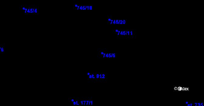Parcela st. 745/5 v k.ú. Potštejn, Katastrální mapa