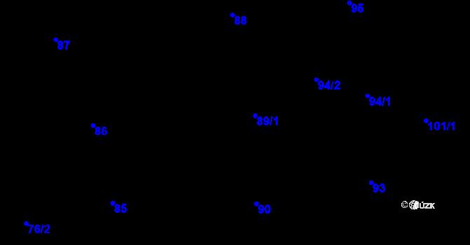 Parcela st. 89/1 v k.ú. Josefov, Katastrální mapa