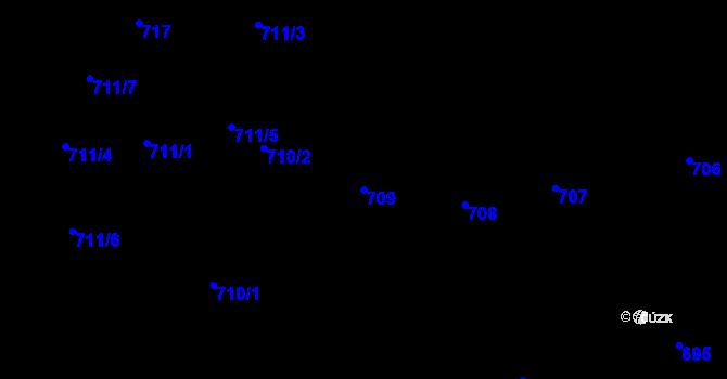 Parcela st. 709 v k.ú. Staré Město, Katastrální mapa