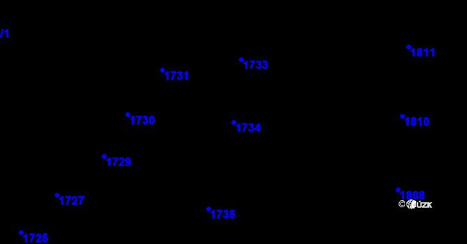 Parcela st. 1734 v k.ú. Nové Město, Katastrální mapa