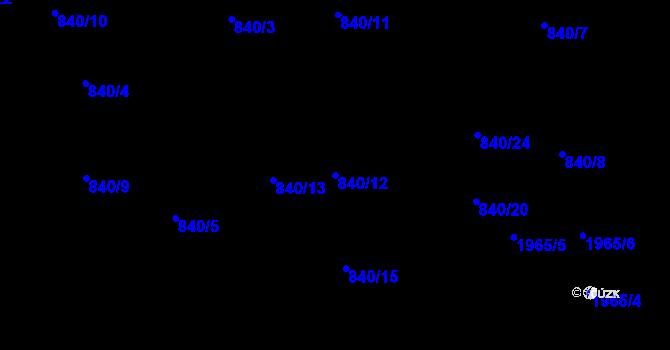 Parcela st. 840/12 v k.ú. Lhotka, Katastrální mapa