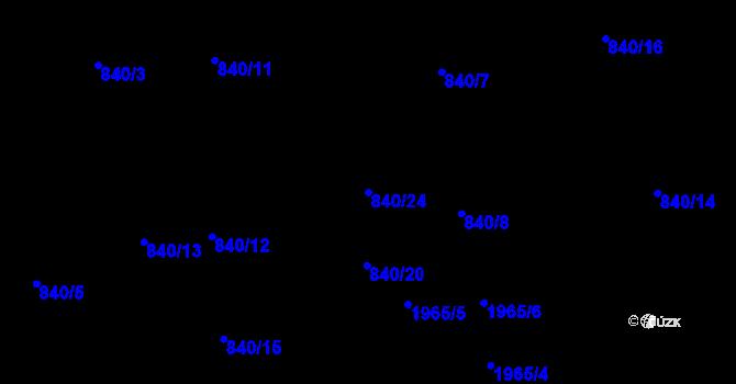 Parcela st. 840/24 v k.ú. Lhotka, Katastrální mapa