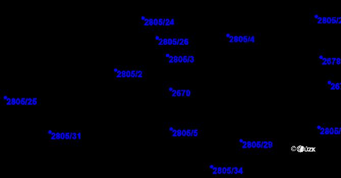 Parcela st. 2670 v k.ú. Chodov, Katastrální mapa