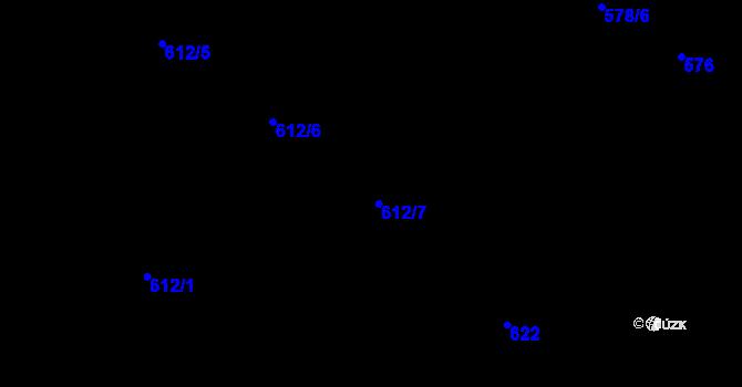 Parcela st. 612/7 v k.ú. Holešovice, Katastrální mapa