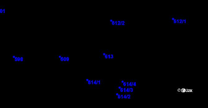 Parcela st. 613 v k.ú. Holešovice, Katastrální mapa