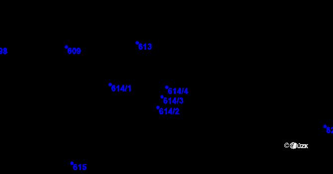 Parcela st. 614/4 v k.ú. Holešovice, Katastrální mapa