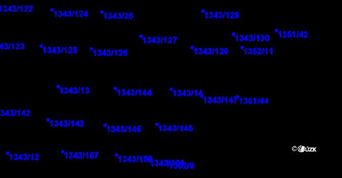 Parcela st. 1343/14 v k.ú. Hloubětín, Katastrální mapa
