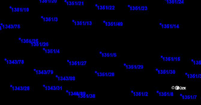 Parcela st. 1351/5 v k.ú. Hloubětín, Katastrální mapa
