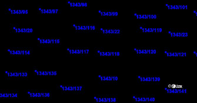 Parcela st. 1343/118 v k.ú. Hloubětín, Katastrální mapa