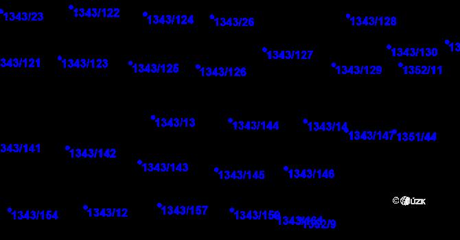 Parcela st. 1343/144 v k.ú. Hloubětín, Katastrální mapa