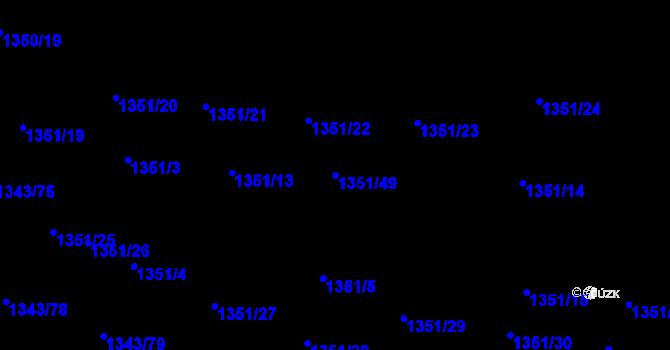 Parcela st. 1351/49 v k.ú. Hloubětín, Katastrální mapa