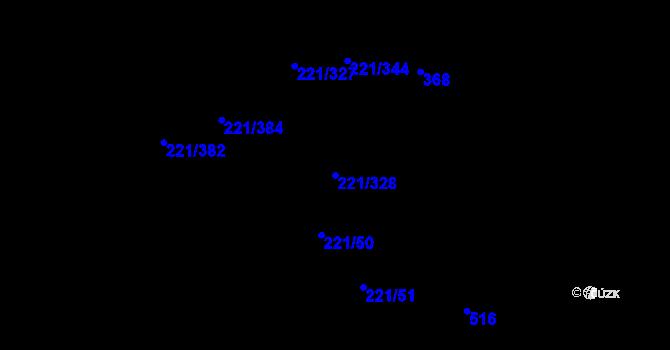 Parcela st. 221/328 v k.ú. Černý Most, Katastrální mapa