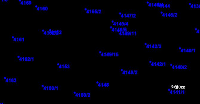 Parcela st. 4149/15 v k.ú. Strašnice, Katastrální mapa