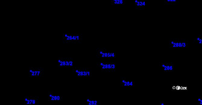 Parcela st. 285/4 v k.ú. Hostivař, Katastrální mapa