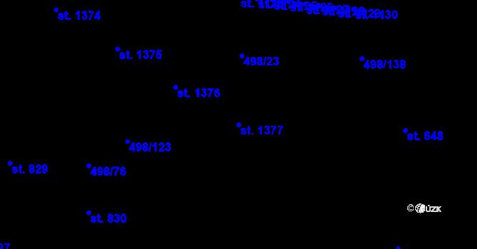 Parcela st. 1377 v k.ú. Přímětice, Katastrální mapa