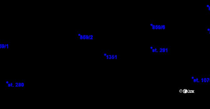 Parcela st. 1351 v k.ú. Pyšely, Katastrální mapa