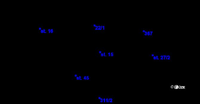 Parcela st. 15 v k.ú. Radíkovice, Katastrální mapa