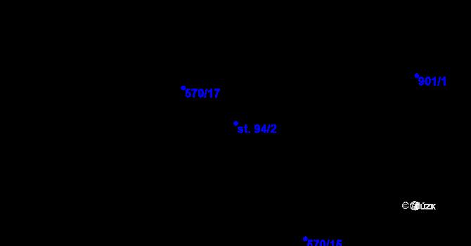 Parcela st. 94/2 v k.ú. Radim, Katastrální mapa