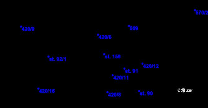 Parcela st. 159 v k.ú. Radim, Katastrální mapa