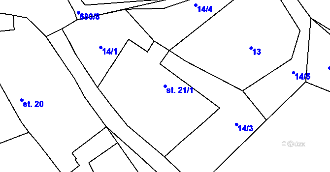 Parcela st. 21/1 v k.ú. Rodvínov, Katastrální mapa