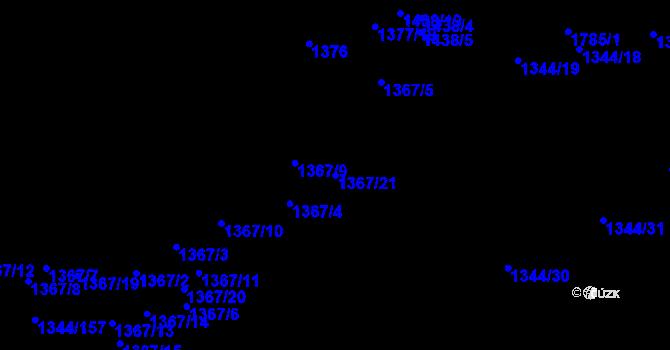 Parcela st. 1367/21 v k.ú. Říčany u Brna, Katastrální mapa