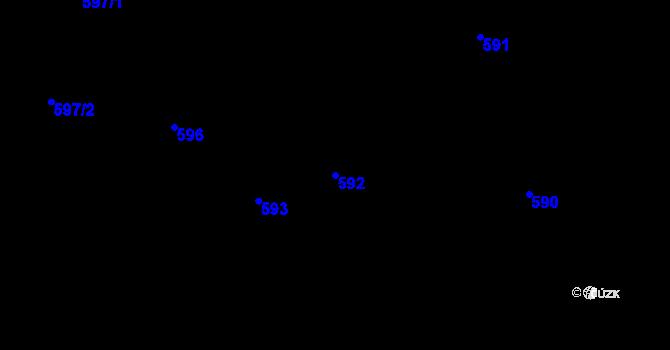 Parcela st. 592 v k.ú. Sebuzín, Katastrální mapa